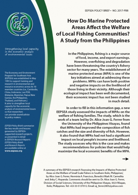 How do marine protected areas affect the welfare of local fishing communities? A study from the Philippines